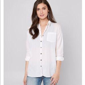 BKE Boyfriend Shirt with Lace Up Back